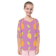 Seamlessly Pattern Fruits Fruit Kids  Quarter Sleeve Raglan Tee