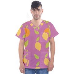 Seamlessly Pattern Fruits Fruit Men s V Neck Scrub Top