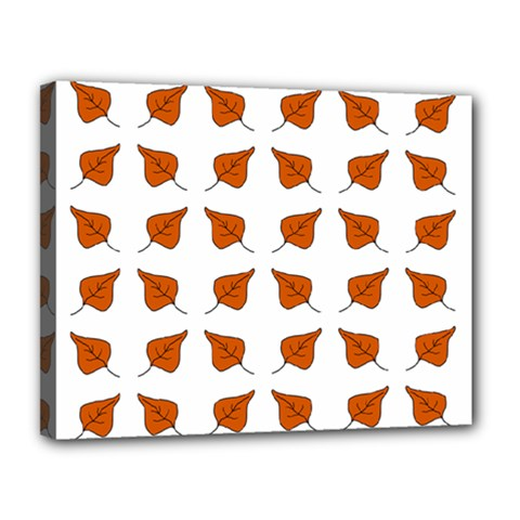 Pattern Fallen Leaves Autumn Canvas 14  X 11  (stretched) by Nexatart