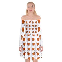 Pattern Fallen Leaves Autumn Off Shoulder Skater Dress