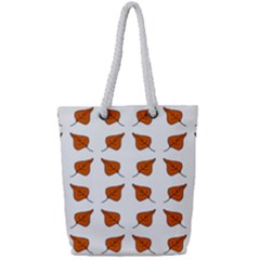 Pattern Fallen Leaves Autumn Full Print Rope Handle Tote (small)