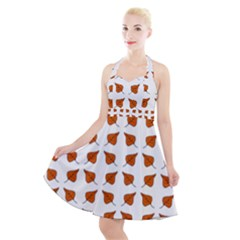 Pattern Fallen Leaves Autumn Halter Party Swing Dress  by Nexatart
