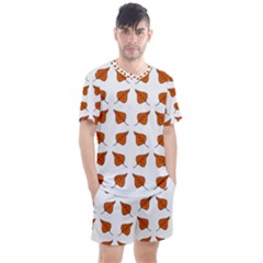 Pattern Fallen Leaves Autumn Men s Mesh Tee And Shorts Set