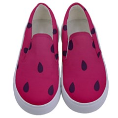 Watermelon Fruit Summer Red Fresh Kids  Canvas Slip Ons