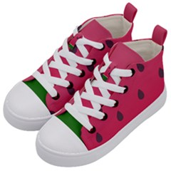 Watermelon Fruit Summer Red Fresh Kid s Mid Top Canvas Sneakers by Nexatart