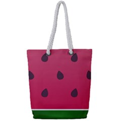 Watermelon Fruit Summer Red Fresh Full Print Rope Handle Tote (small) by Nexatart
