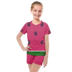 Watermelon Fruit Summer Red Fresh Kids  Mesh Tee And Shorts Set by Nexatart
