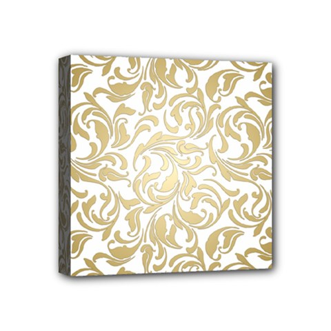 Gold Vintage Rococo Model Patern Mini Canvas 4  X 4  (stretched) by Nexatart