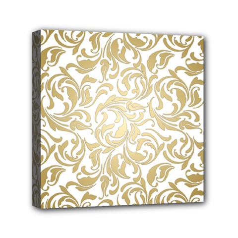 Gold Vintage Rococo Model Patern Mini Canvas 6  X 6  (stretched) by Nexatart