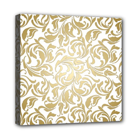 Gold Vintage Rococo Model Patern Mini Canvas 8  X 8  (stretched) by Nexatart