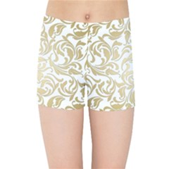 Gold Vintage Rococo Model Patern Kids Sports Shorts