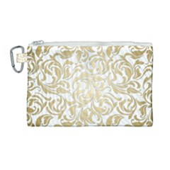 Gold Vintage Rococo Model Patern Canvas Cosmetic Bag (large) by Nexatart
