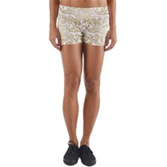 Gold Vintage Rococo Model Patern Lightweight Velour Yoga Shorts