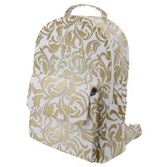 Gold Vintage Rococo Model Patern Flap Pocket Backpack (small) by Nexatart