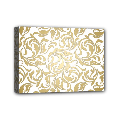Gold Vintage Rococo Model Patern Mini Canvas 7  X 5  (stretched) by Nexatart