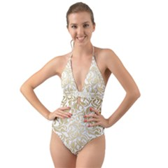 Gold Vintage Rococo Model Patern Halter Cut Out One Piece Swimsuit