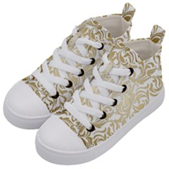 Gold Vintage Rococo Model Patern Kid s Mid Top Canvas Sneakers by Nexatart