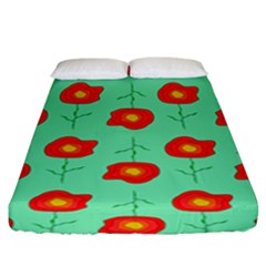 Flowers Pattern Ornament Template Fitted Sheet (king Size)