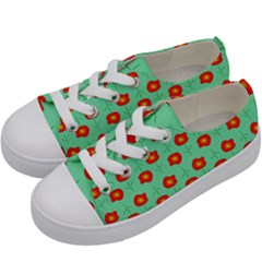 Flowers Pattern Ornament Template Kids  Low Top Canvas Sneakers by Nexatart
