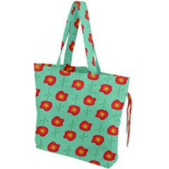 Flowers Pattern Ornament Template Drawstring Tote Bag by Nexatart