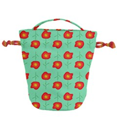Flowers Pattern Ornament Template Drawstring Bucket Bag