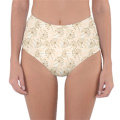 Dandelion Rose Rosa Flower Reversible High Waist Bikini Bottoms