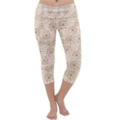 Dandelion Rose Rosa Flower Capri Yoga Leggings