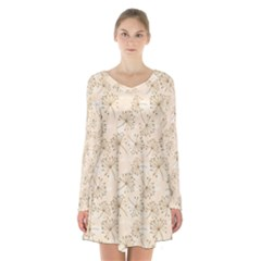 Dandelion Rose Rosa Flower Long Sleeve Velvet V Neck Dress by Nexatart