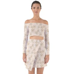 Dandelion Rose Rosa Flower Off Shoulder Top With Skirt Set