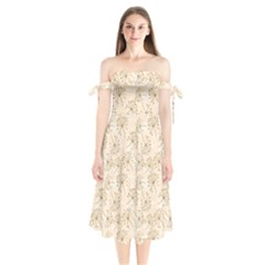 Dandelion Rose Rosa Flower Shoulder Tie Bardot Midi Dress