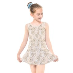 Dandelion Rose Rosa Flower Kids  Skater Dress Swimsuit