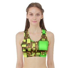 Blocks Cubes Construction Design Sports Bra With Border