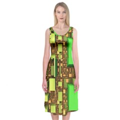Blocks Cubes Construction Design Midi Sleeveless Dress