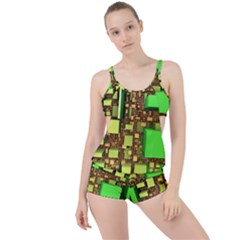 Blocks Cubes Construction Design Boyleg Tankini Set
