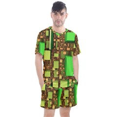 Blocks Cubes Construction Design Men s Mesh Tee And Shorts Set by Nexatart