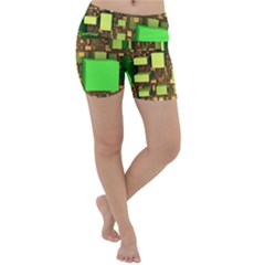 Blocks Cubes Construction Design Lightweight Velour Yoga Shorts
