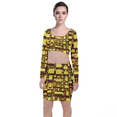 Cubes Grid Geometric 3d Square Top And Skirt Sets