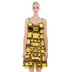 Cubes Grid Geometric 3d Square Spaghetti Strap Velvet Dress