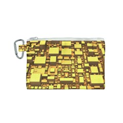 Cubes Grid Geometric 3d Square Canvas Cosmetic Bag (small)