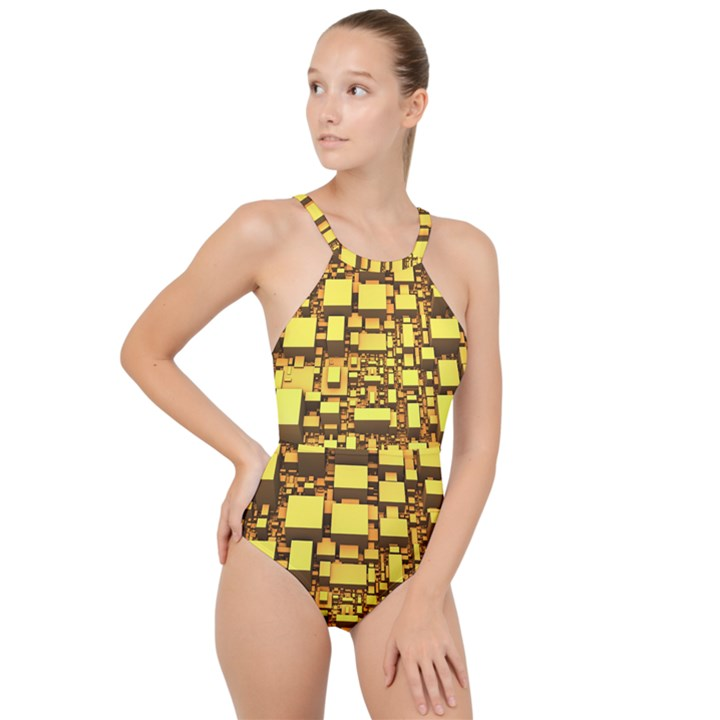 Cubes Grid Geometric 3d Square High Neck One Piece Swimsuit
