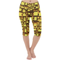 Cubes Grid Geometric 3d Square Lightweight Velour Cropped Yoga Leggings