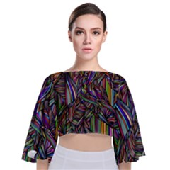 Background Wallpaper Abstract Lines Tie Back Butterfly Sleeve Chiffon Top