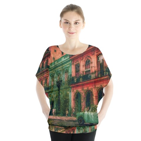 Havana Cuba Architecture Capital Batwing Chiffon Blouse by Nexatart