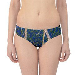Green Leaves Blue Background Night Hipster Bikini Bottoms