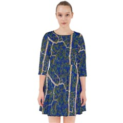 Green Leaves Blue Background Night Smock Dress
