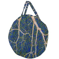 Green Leaves Blue Background Night Giant Round Zipper Tote