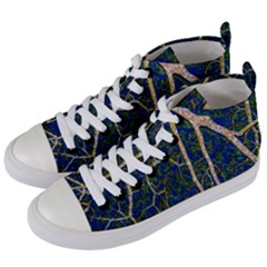 Green Leaves Blue Background Night Women s Mid Top Canvas Sneakers by Nexatart