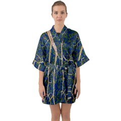 Green Leaves Blue Background Night Quarter Sleeve Kimono Robe