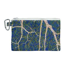 Green Leaves Blue Background Night Canvas Cosmetic Bag (medium)