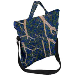 Green Leaves Blue Background Night Fold Over Handle Tote Bag